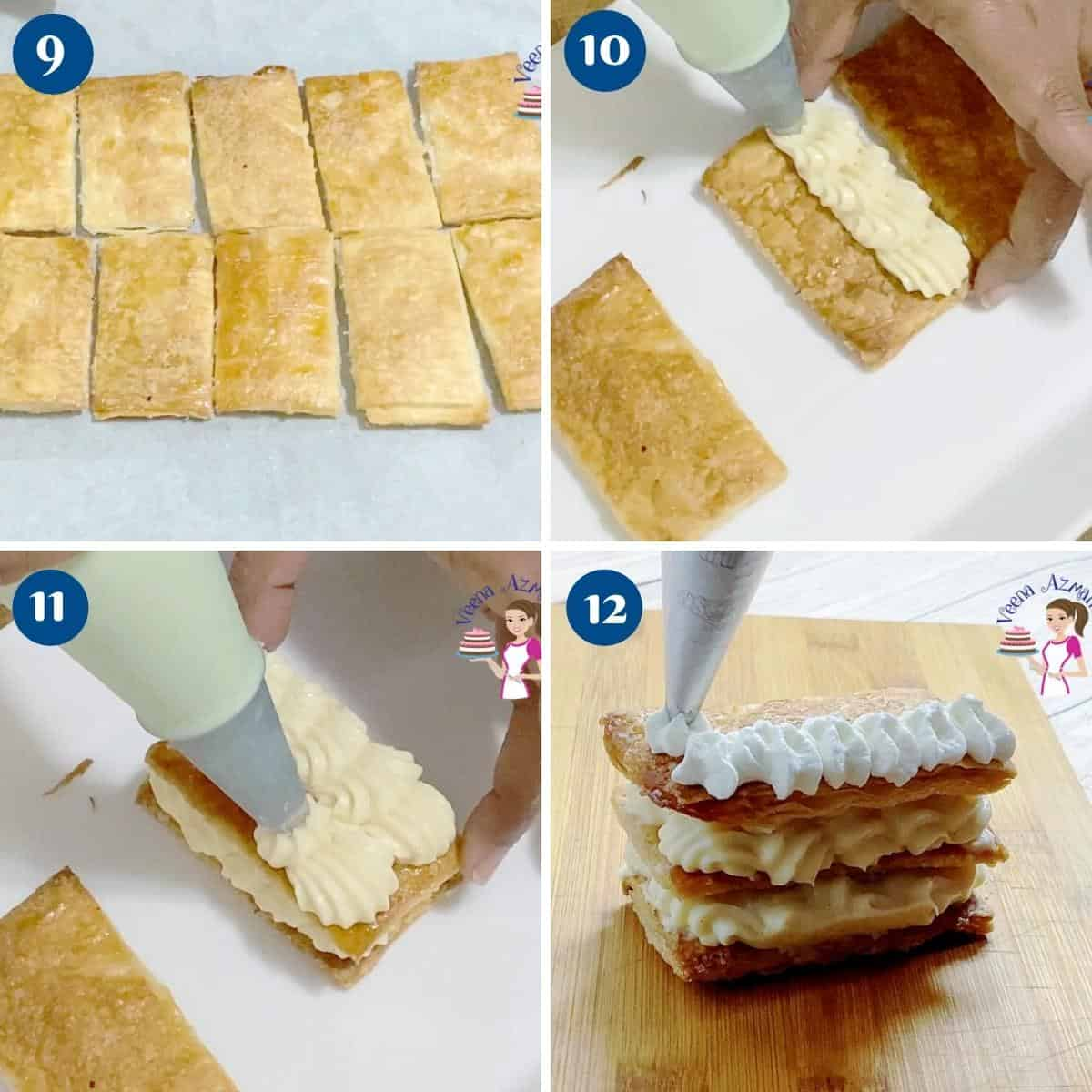 Progress pictures collage stacking Mille-feuille.