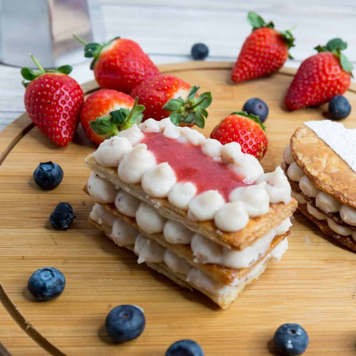 Strawberry Mille Feuille on a wooden board