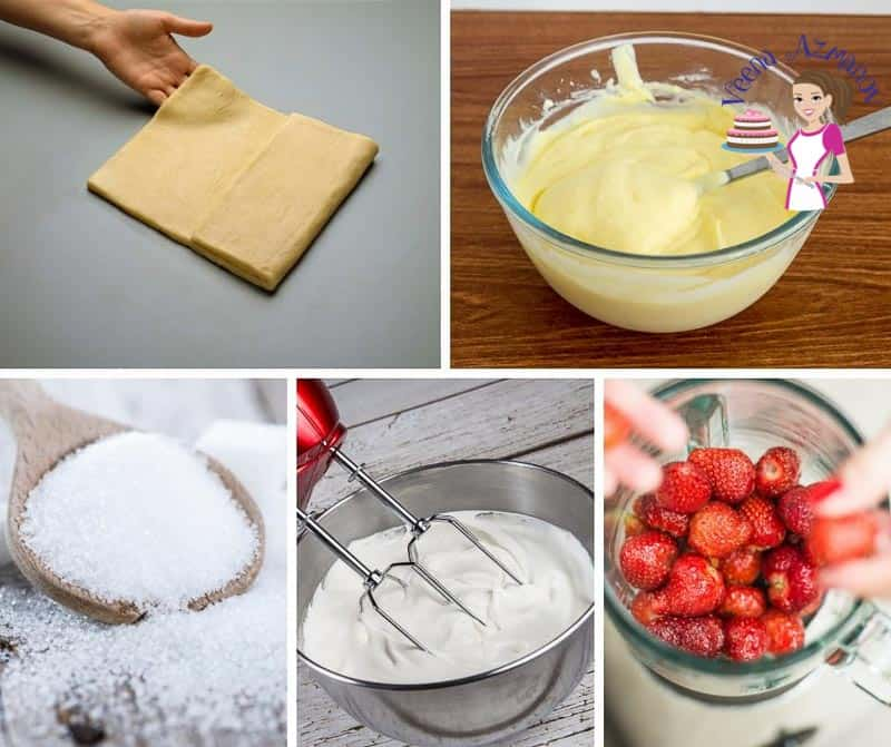 A collage of the ingredients for making strawberry Mille-feuille.