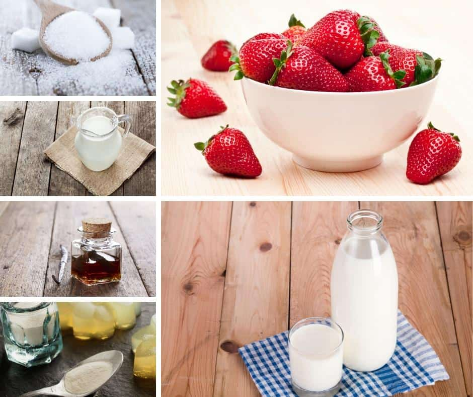 A collage of the ingredients needed for making strawberry Panna cotta.