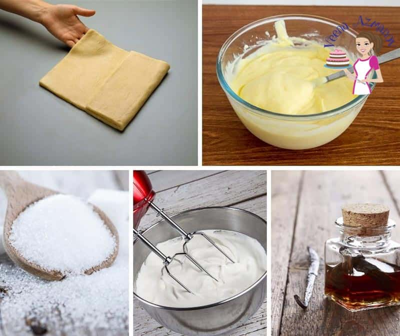 A collage of the ingredients for making a vanilla mille feuille.