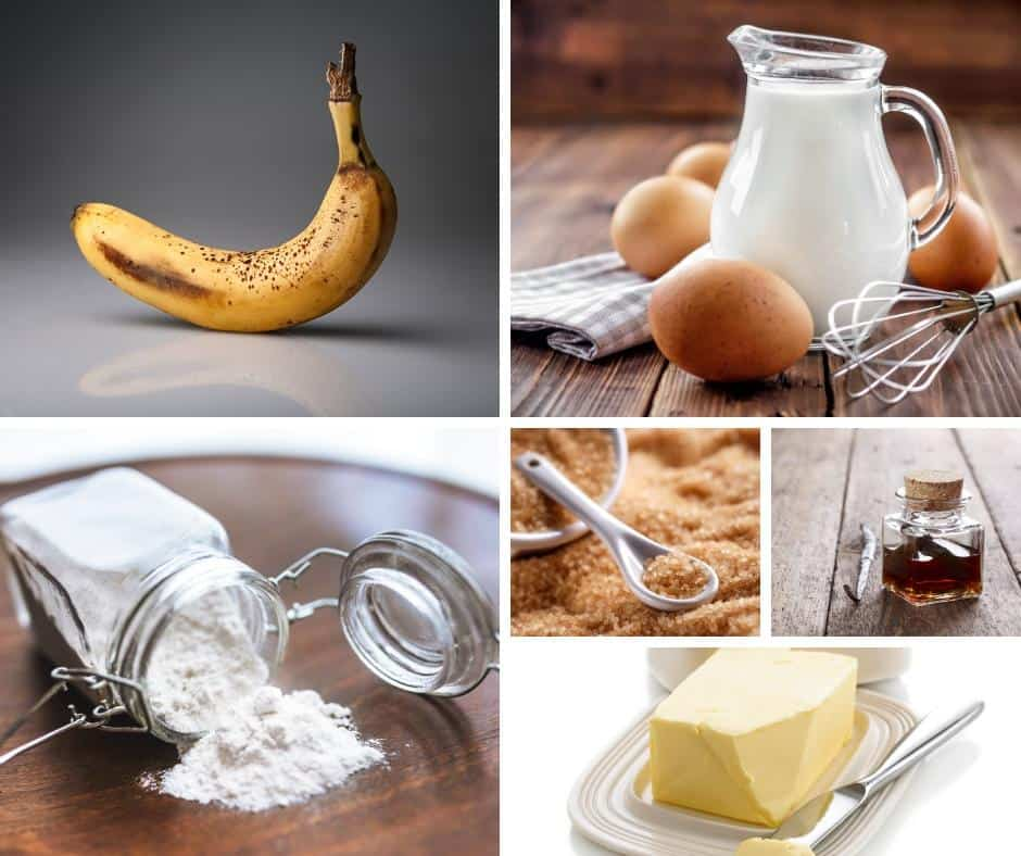 A collage of the ingredients for making a banana cupcake.