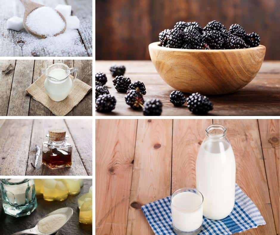 A collage of ingredients for blackberry panna cotta.