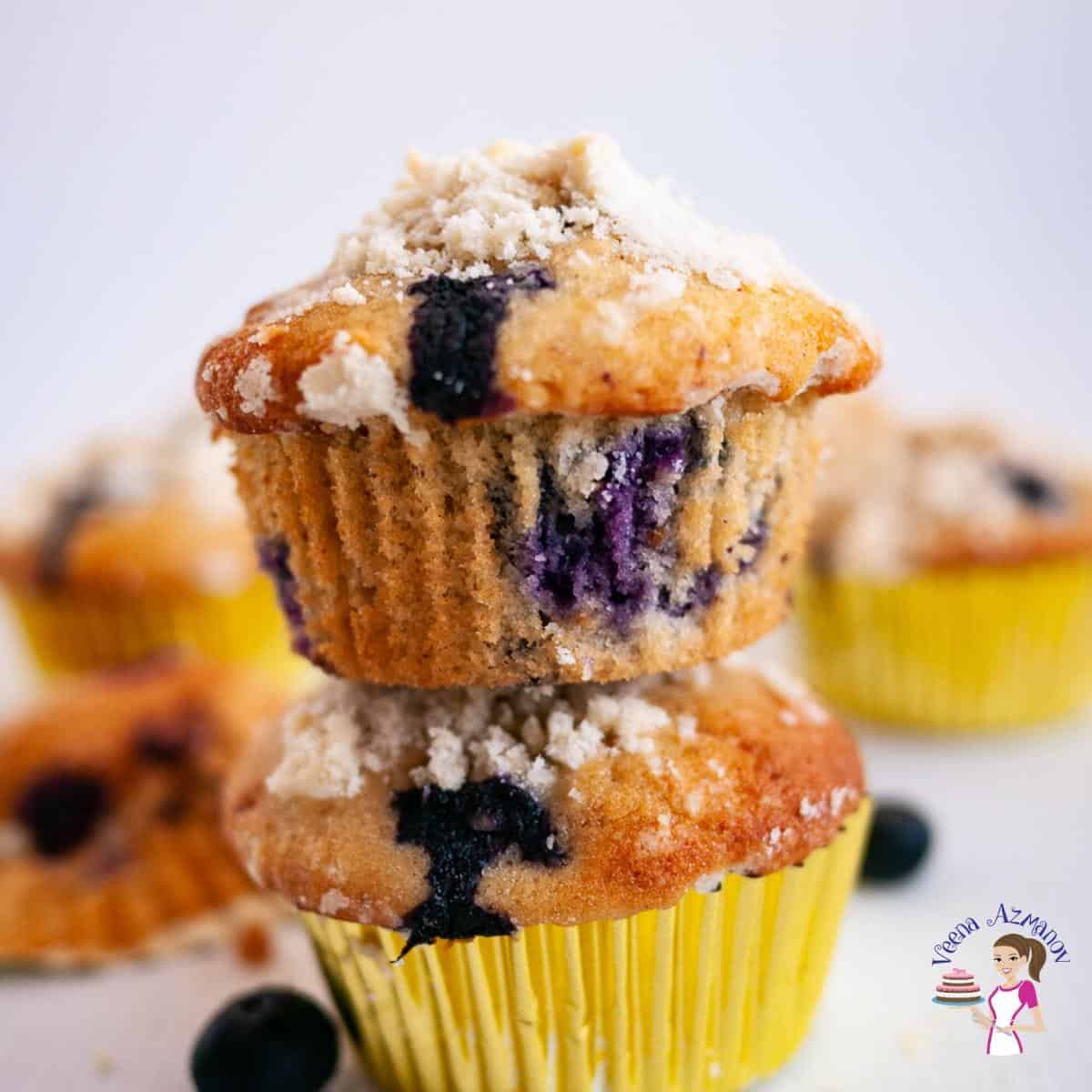 Homemade Muffins made with Blueberries and Crumble Topping