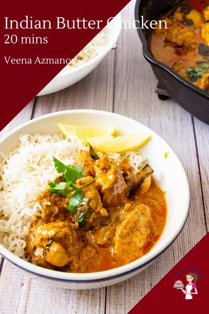 This butter chicken is the best you will ever make and definitely better than any restaurant take out. Made with boneless chicken, yogurt, easy to find spices and just 20 minutes. Serve it over steam rice for a quick lunch or dinner. #butterchicken #chicken #indian #chickenrecipe #howtochicken #butterchicken via @Veenaazmanov