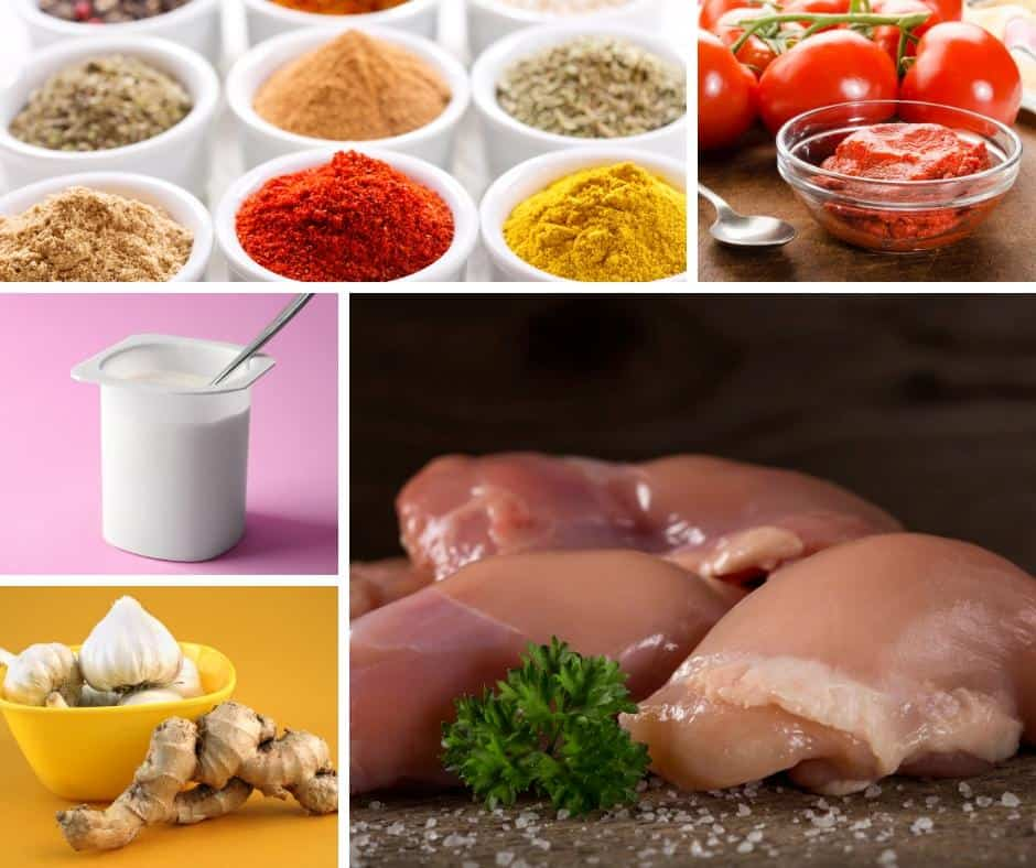 A collage of the ingredients needed to make butter chicken.