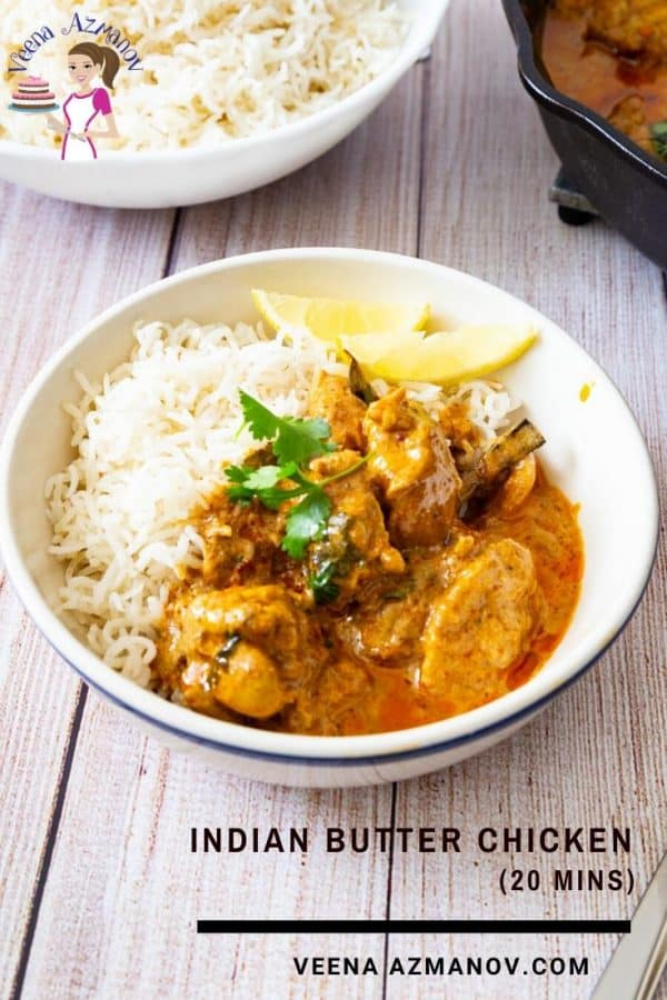 A bowl of butter chicken with rice.