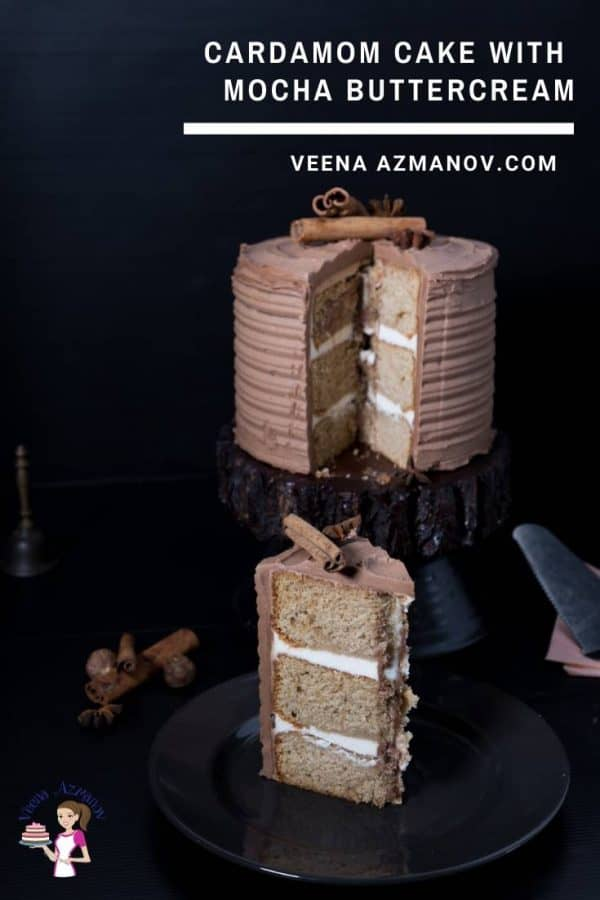 Homemade Cake Recipe with Cardamom flavor and Mocha Buttercream