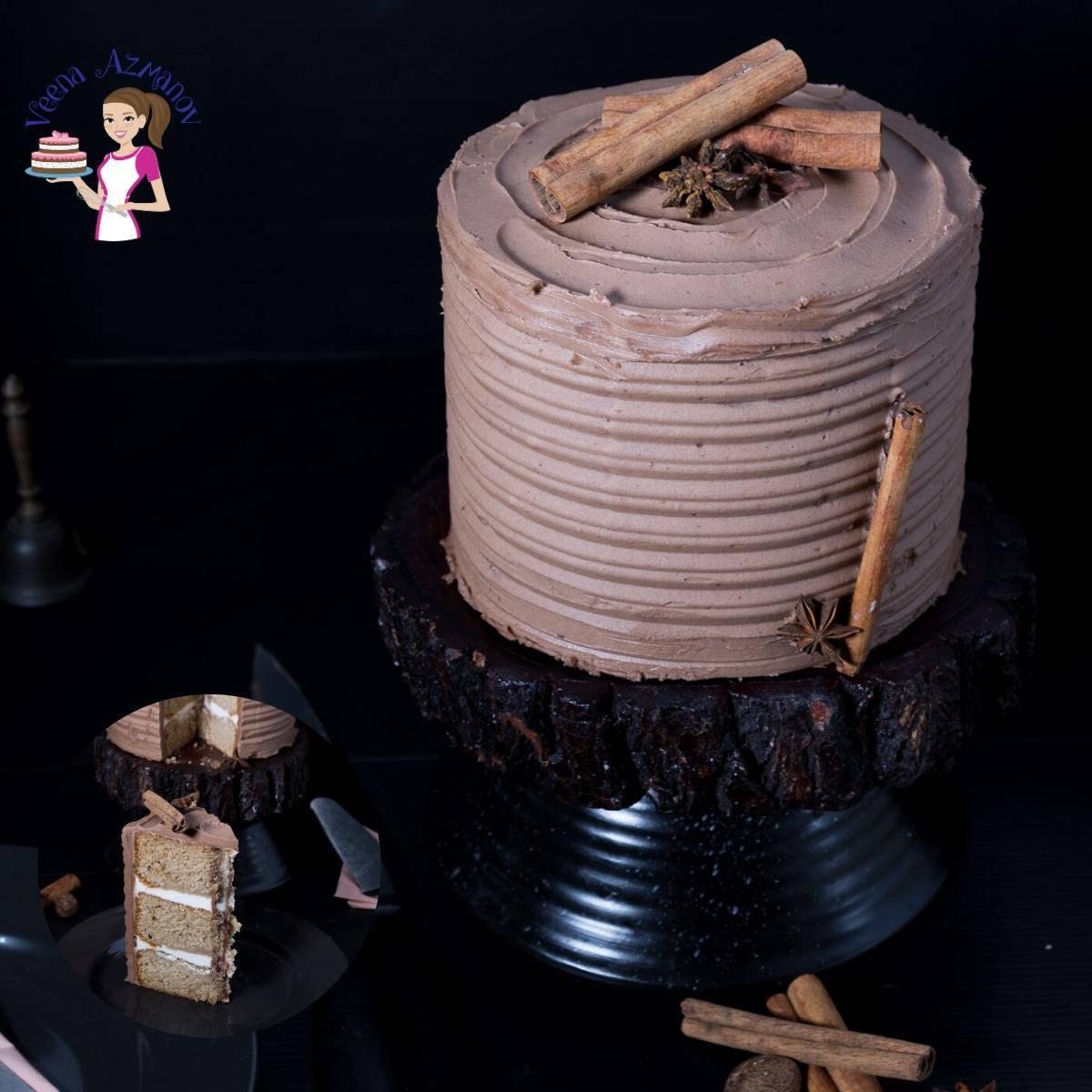 Homemade Cake Recipe with Cardamom flavor and Mocha Buttercream