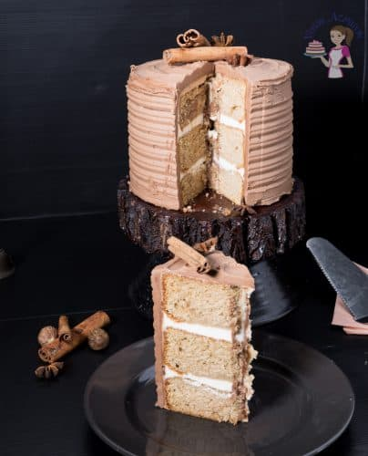 A slice of cardamon cake with mocha buttercream.