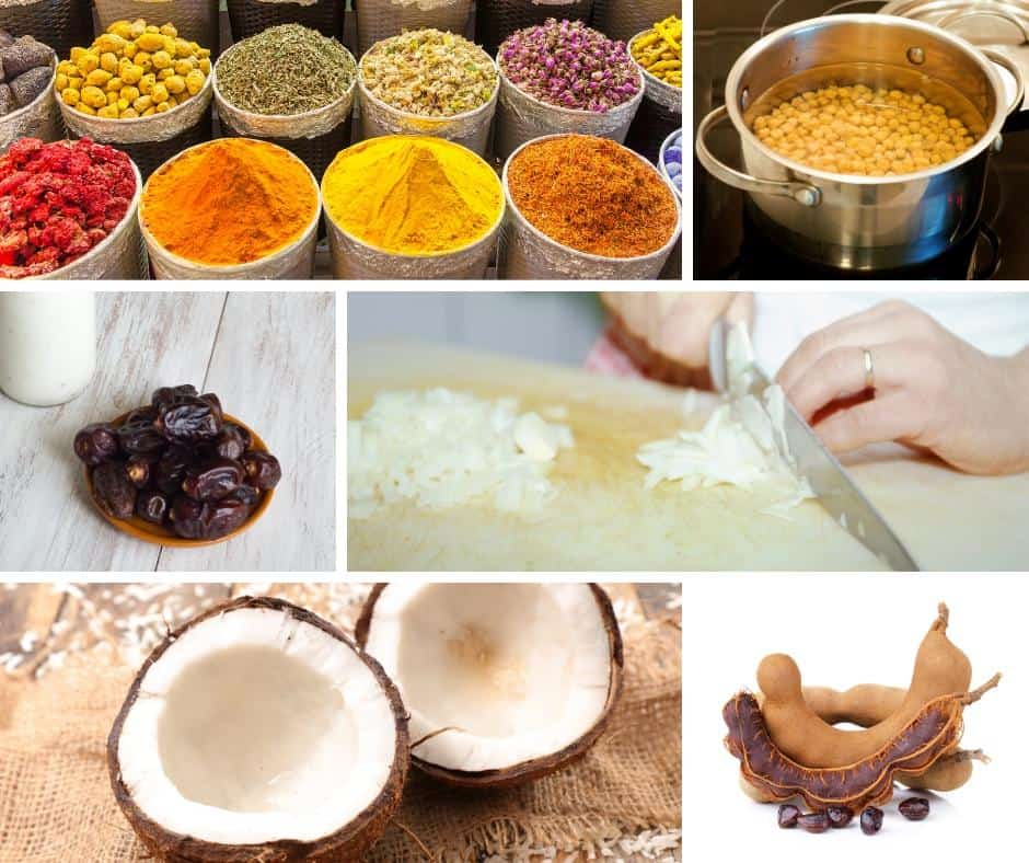 A collage of the ingredients fo making channa masala.