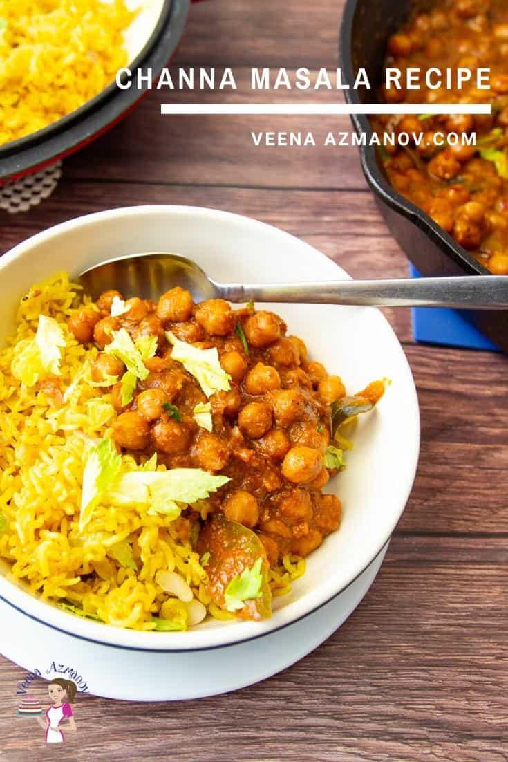 A bowl of channa masala and rice.