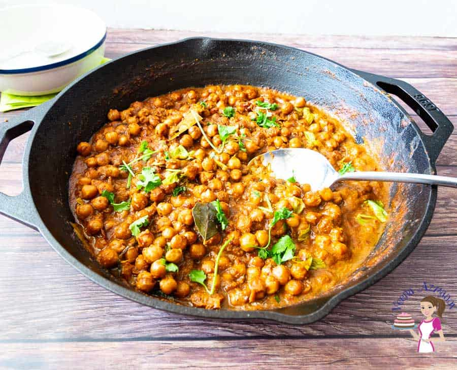 A pan of channa masala.