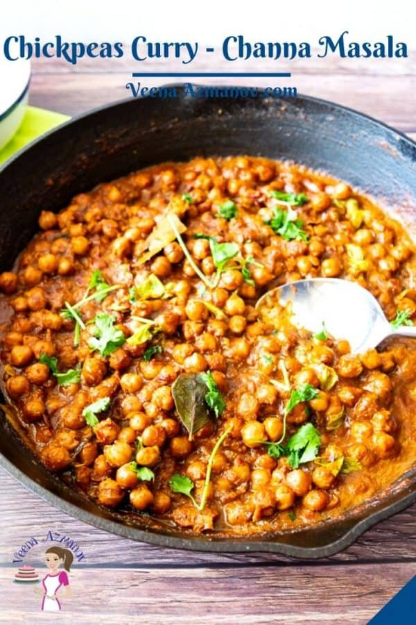 Skillet with chickpea curry.