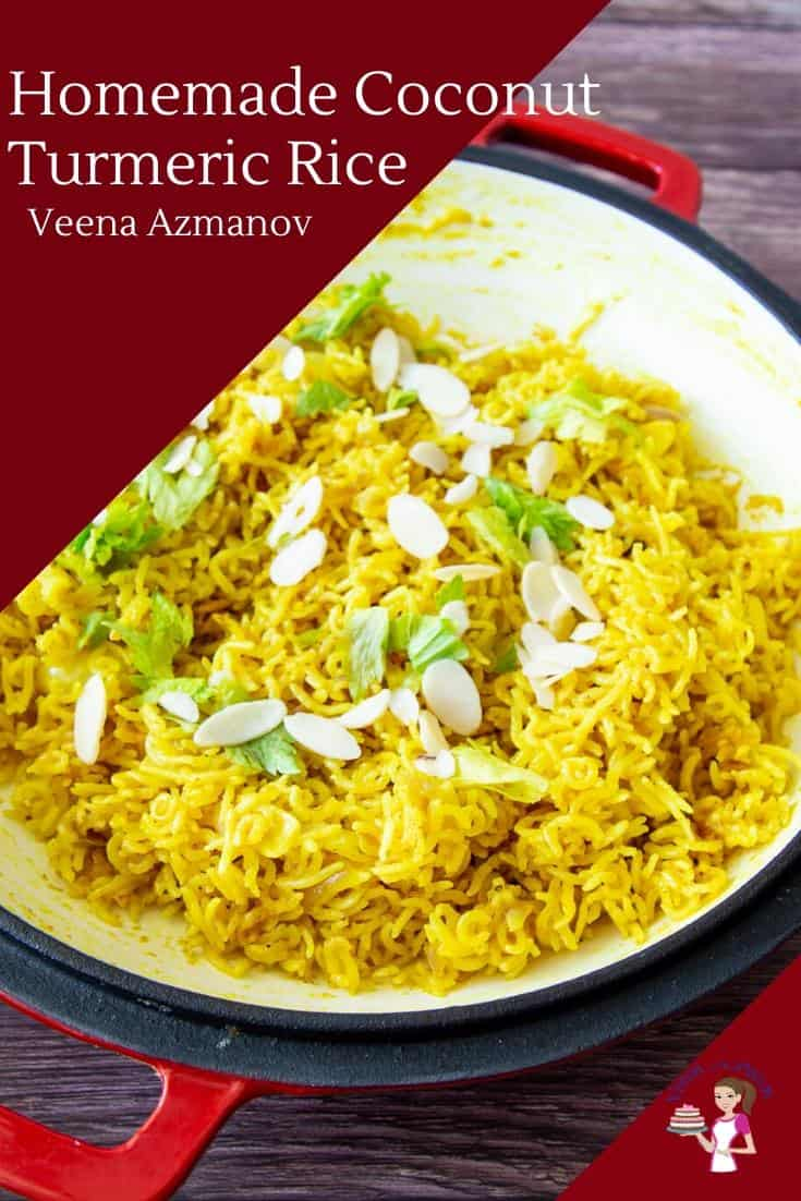 A bowl of coconut turmeric rice.