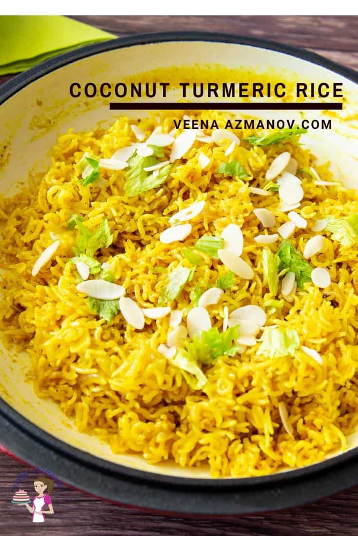 A close up of a bowl of coconut turmeric rice.