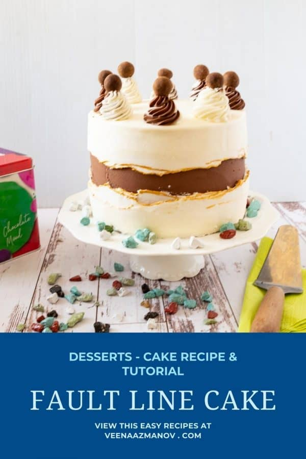 Pinterest image for faultline cake.