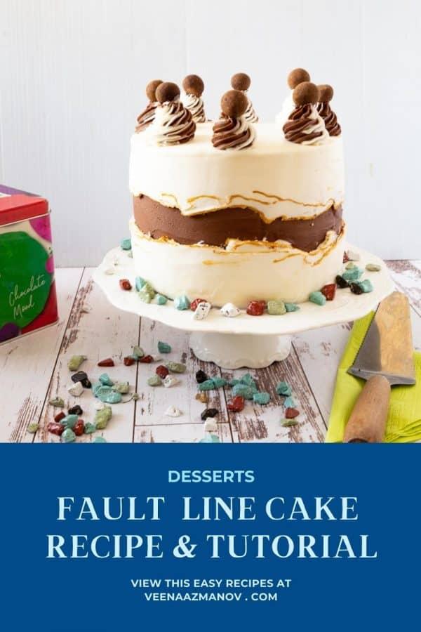 Pinterest image for fault line cake.
