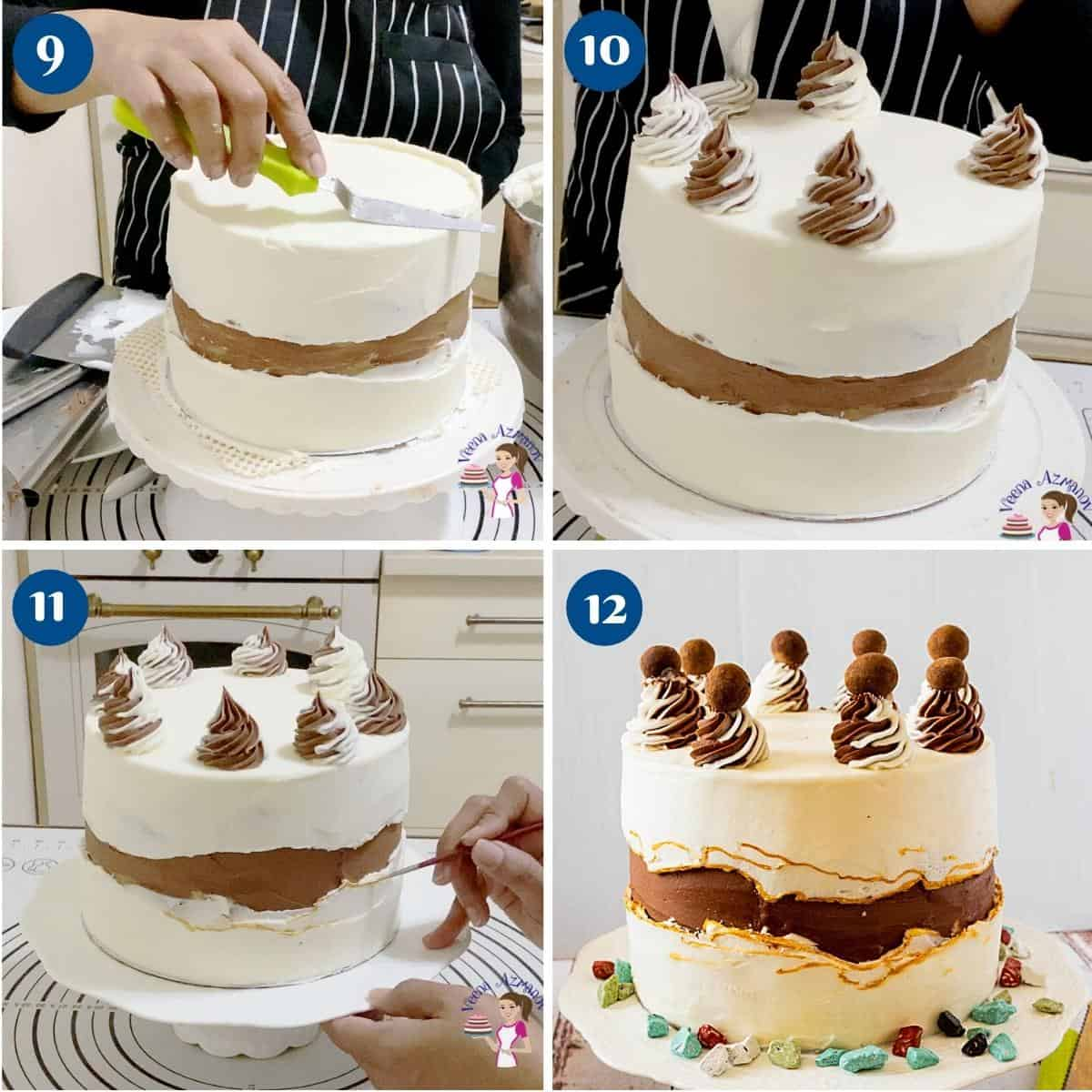 Progress pictures collage for frosting the buttercream cake.
