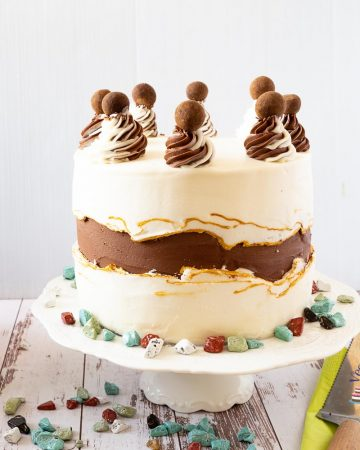 A fault line cake on top of a cake stand.