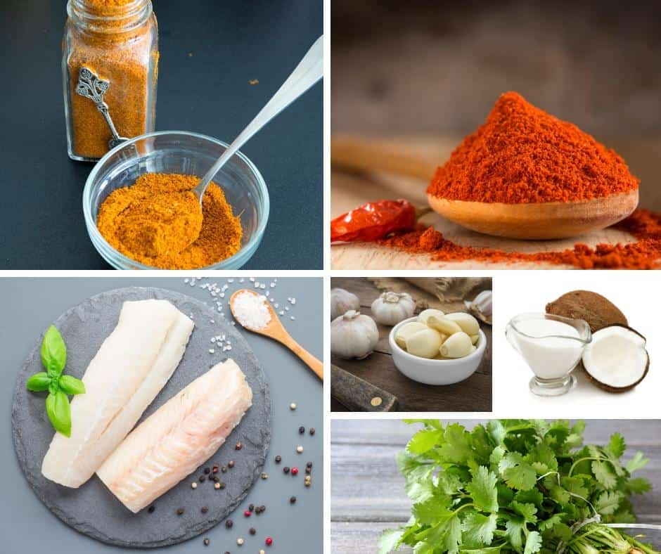 A collage of the ingredients for making fish curry.