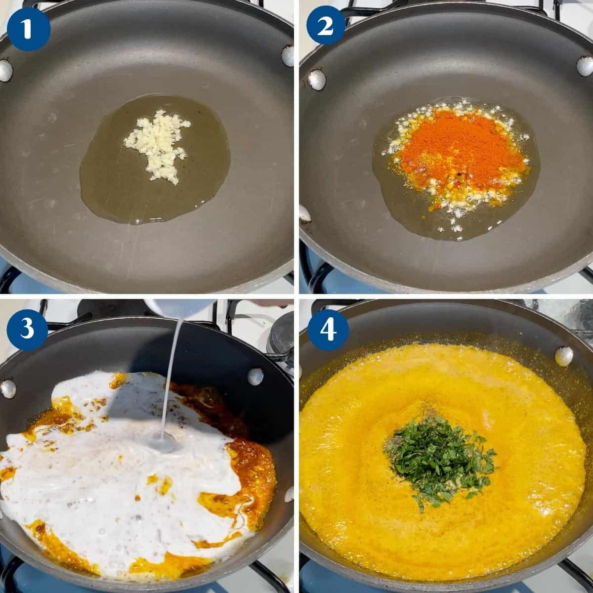 Progress Pictures Collage for Fish Curry.