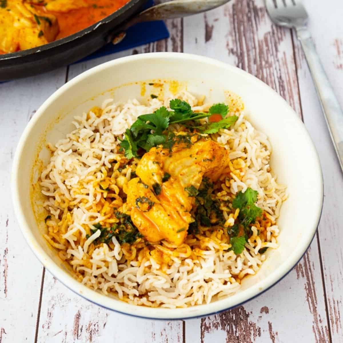 A bowl with rice and curry and fish.