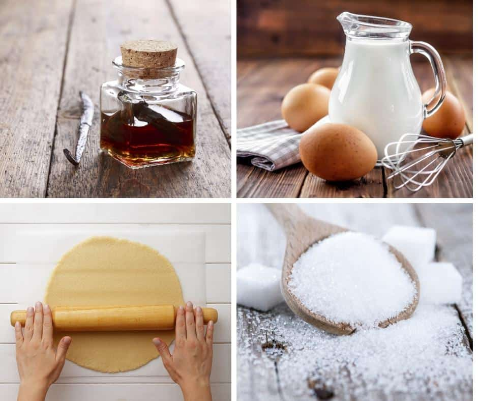 A collage of the ingredients needed to make a French custard tart.