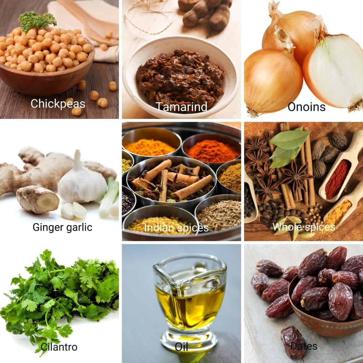 Ingredients needed to make the chickpeas curry channa masala.