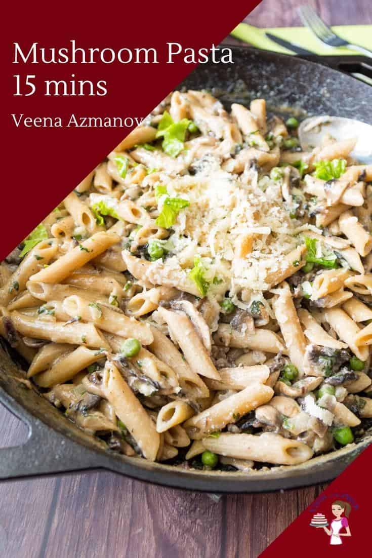 This mushroom pasta recipe is comfort food and dinner in just 15 minutes. Mushrooms and peas cooked in a creamy rich white sauce, yet not loaded with cream or cheese. Perfect when you need a super-quick meal using ingredients you probably already have in your kitchen. #mushroompasta #pasta #mushroom #15minpasta #vegpasta #bestpasta via @Veenaazmanov