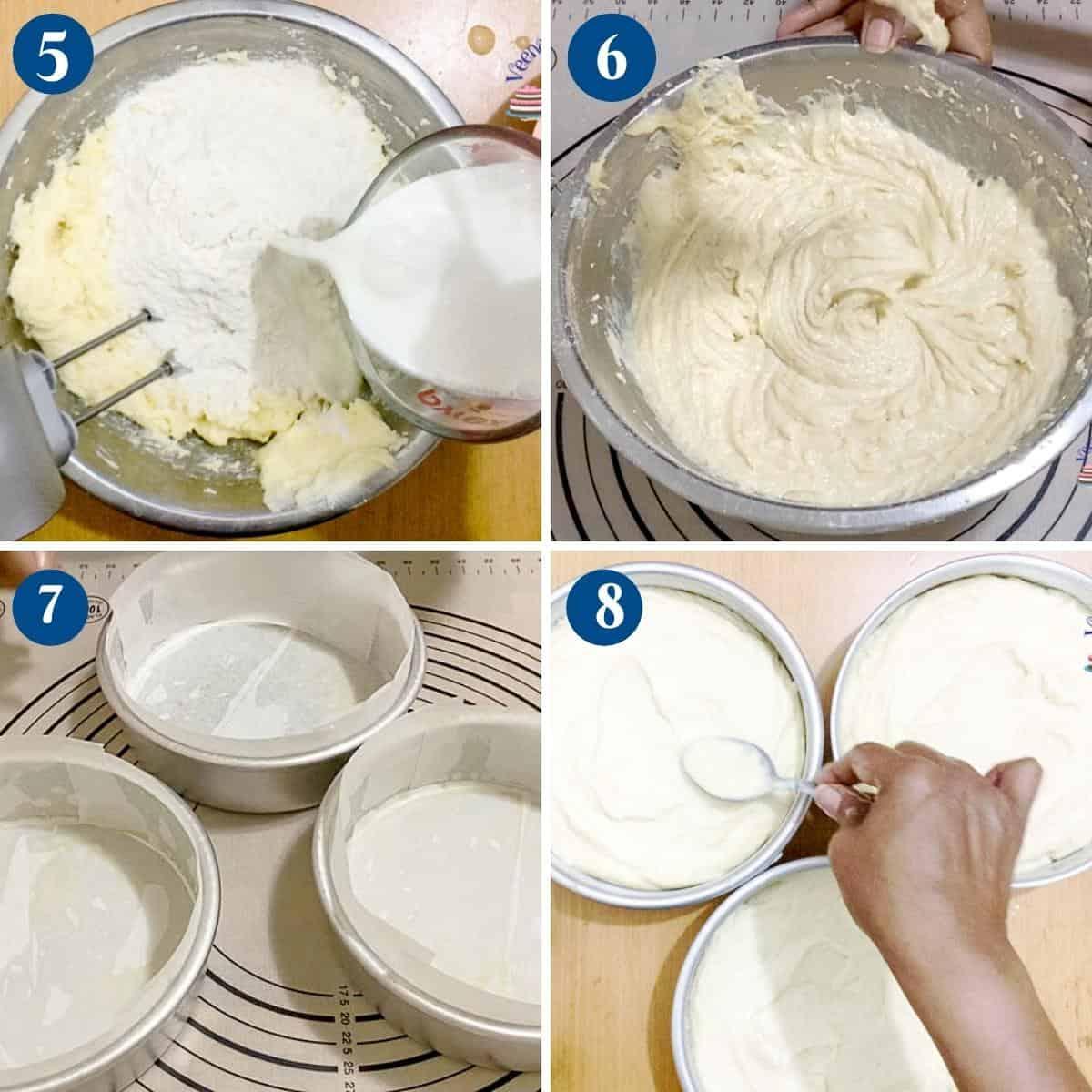 Progress pictures collage making vanilla bean cake batter.