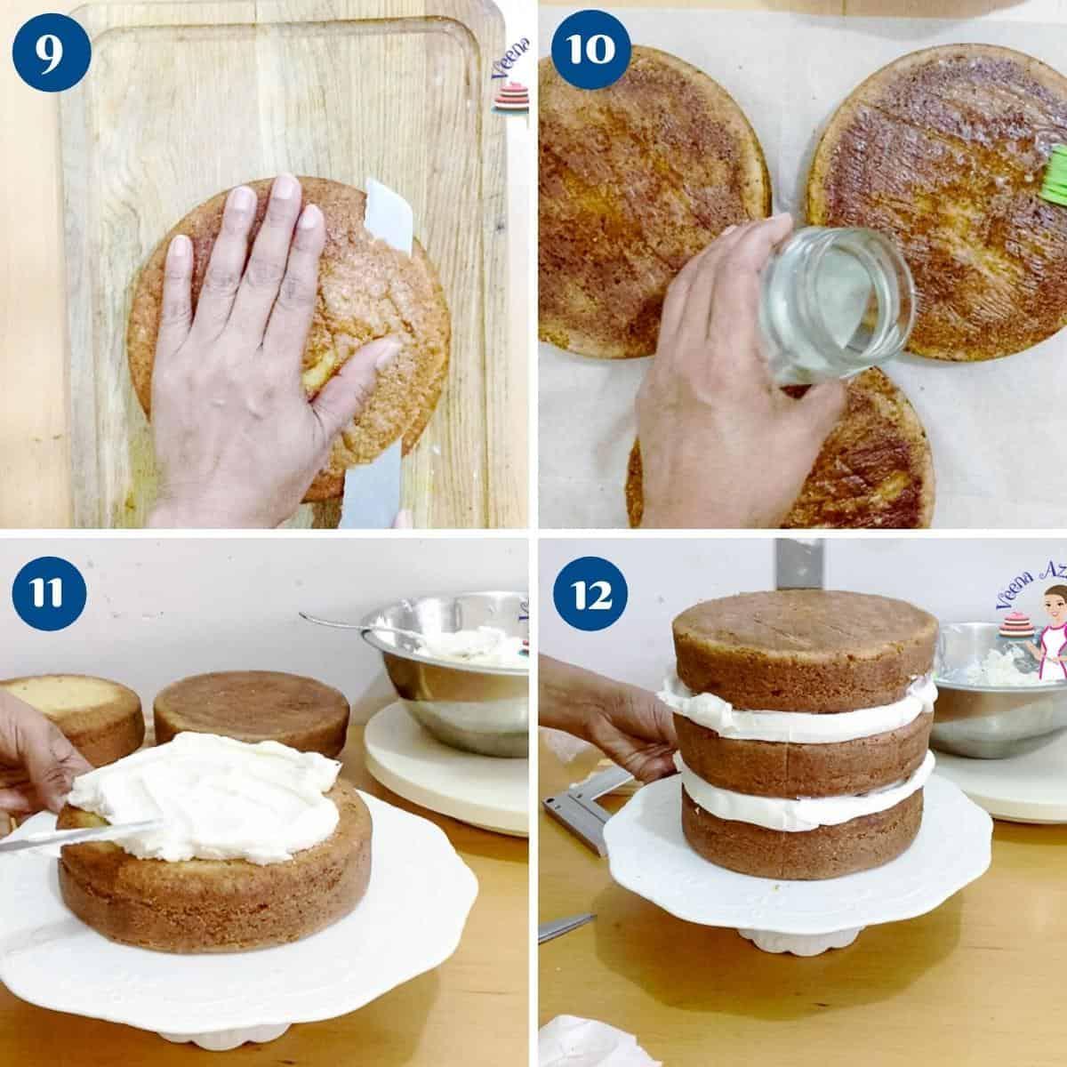 Progress pictures collage stacking vanilla bean paste cake.