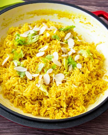 A pan with turmeric rice.