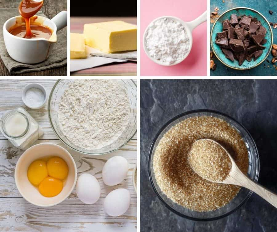 A collage of the ingredients for making caramel cupcakes.