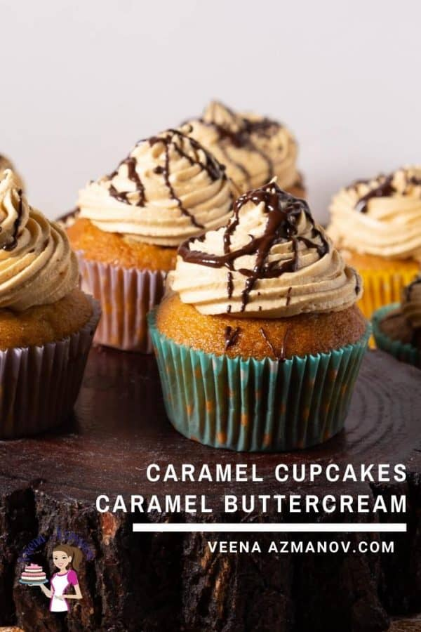 Caramel cupcakes on a wooden board.