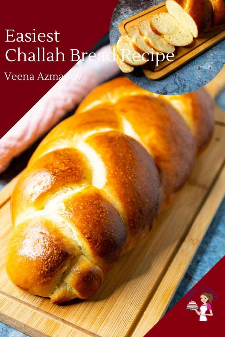 Have you been intimidated by the pretty challah? Not any more. Today, I share with you the easiest three braid challah bread recipe you will ever make. The recipe uses just six ingredients which are regular pantry staples and the process is surprisingly simple and easy. #challah #challahbreadrecipe #breadrecipes #homemadebread #jewishbread #jewishrecipes via @Veenaazmanov