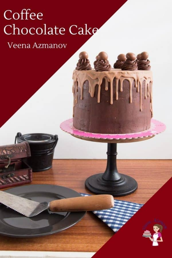 Homemade Cake Recipe with Chocolate, Coffee, Chocolate Fudge Frosting and Chocolate Drip