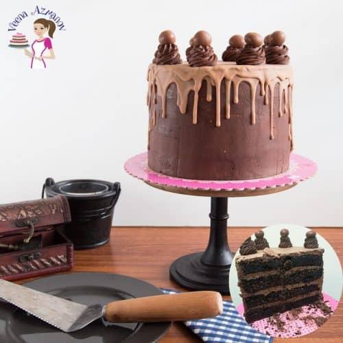Chocolate cake on a cake stand.