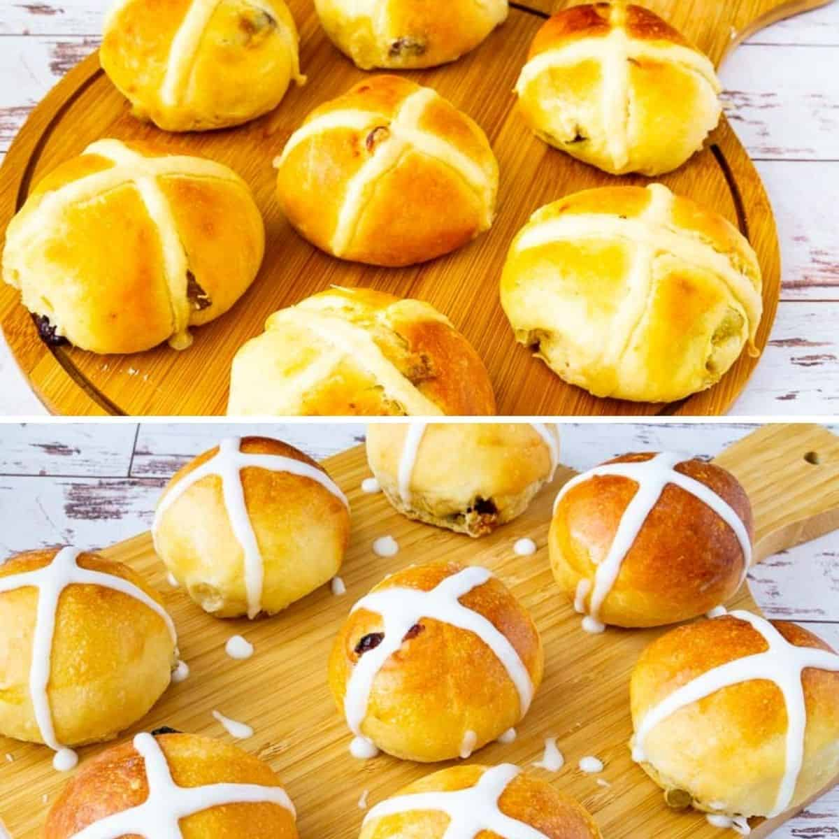 Hot cross buns both with flour cross or icing cross.