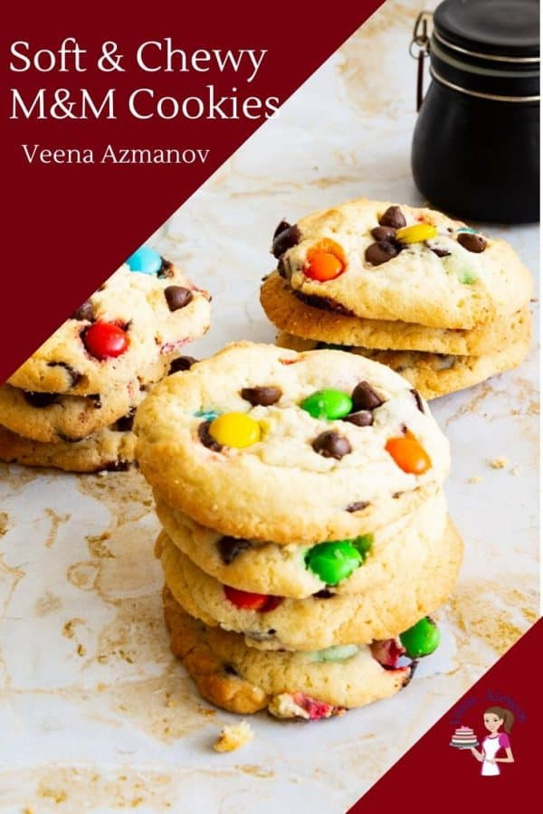 Soft and Chewy Homemade Cookies with Chocolate Chips and M and Ms