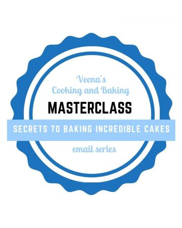 Logo of Veena's cooking and baking masterclass.
