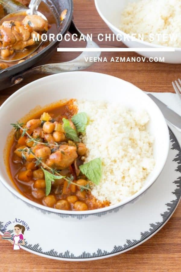 Homemade Chicken Stew made with Chickpeas with Moroccan Flavors