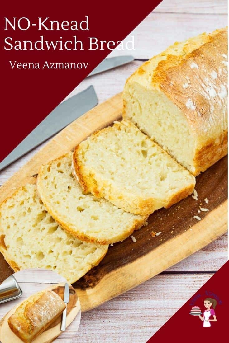 This no-knead sandwich bread is a great recipe to have on hand for those days when you don't want to spend time kneading the dough. The slow proofing of six hours is the secret to building flavor in this bread. With 5 minutes to mix and 40 minutes to bake this has now become a family favorite recipe for us. #sandwichbread #bread #sandwich #noknead #nokneadbread #sandwichbread #breadrecipes #bestbread #bakingbread via @Veenaazmanov