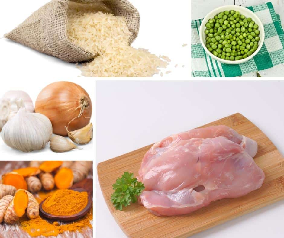 A collage of the ingredients for making chicken with turmeric rice.