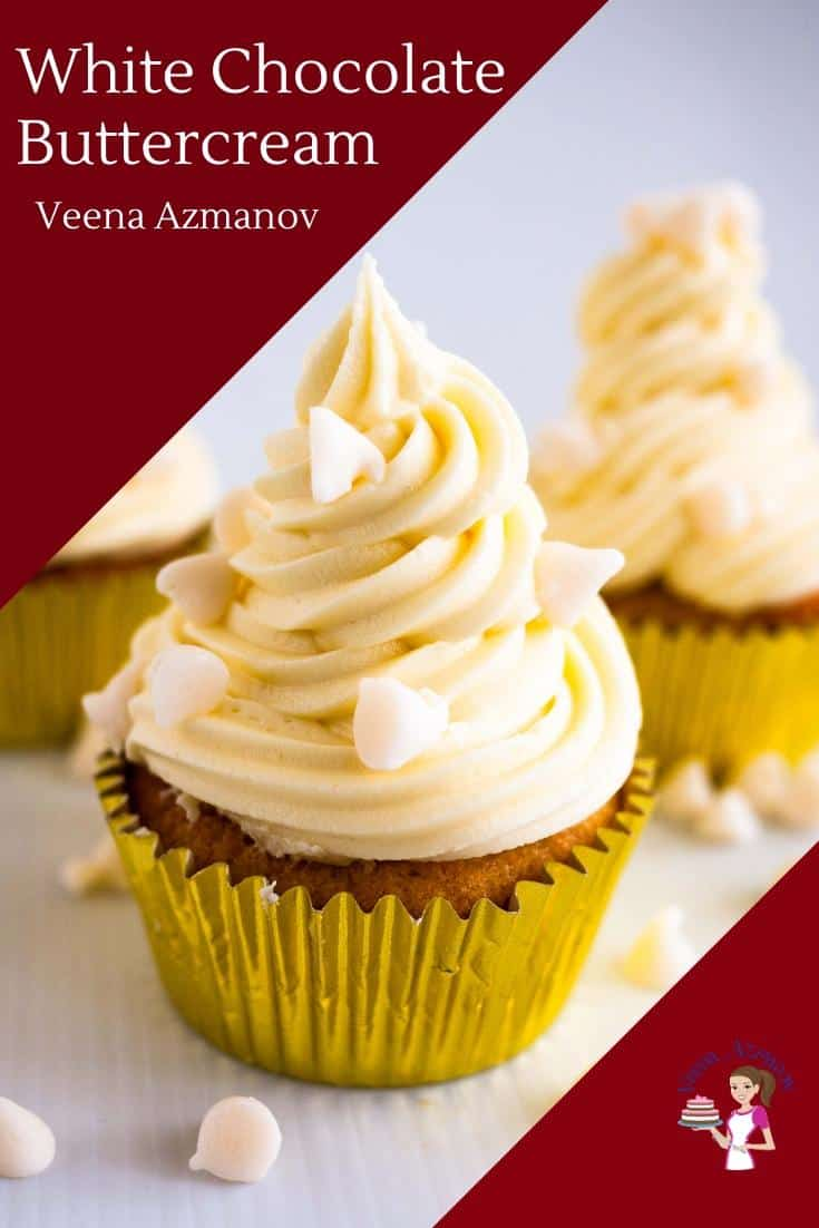 This white chocolate buttercream takes your classic vanilla buttercream to the next level. It's rich, creamy and sweet. Perfect for cakes, cupcakes or macarons. Today I used them with my white chocolate cupcakes but try it with tart berries for a nice contrast like raspberries or strawberries. #buttercream #whitechocolate #frosting #recipe #whitechocolatebuttercream #whitechocolatefrosting via @Veenaazmanov