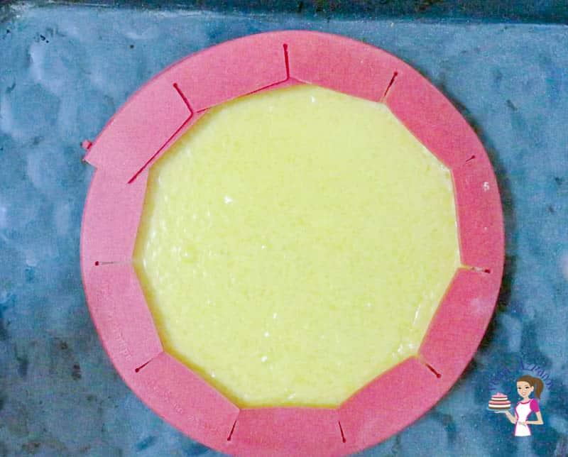 Baking the mango custard tart - mango flan