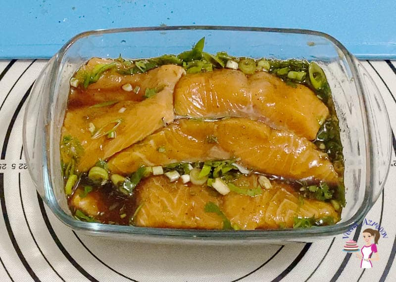 Marinate the salmon in balsamic