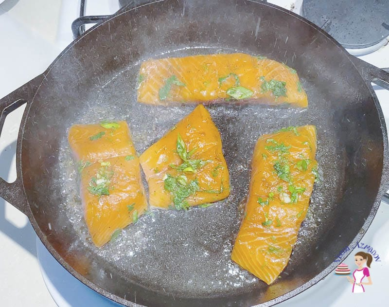 Pan sear the salmon on a skillet