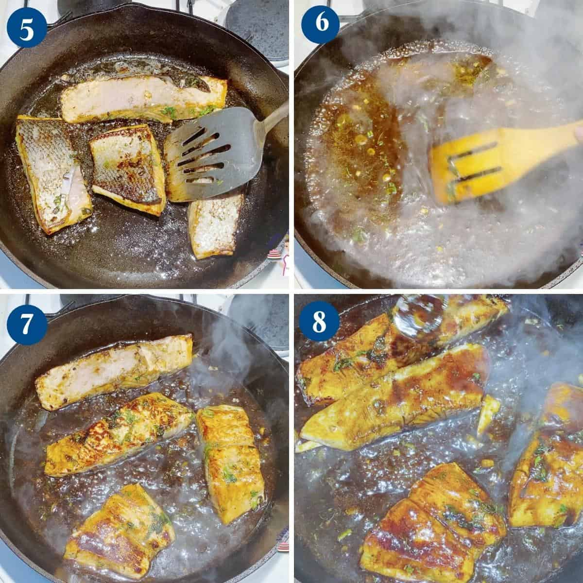 Progress pictures for balsamic salmon.
