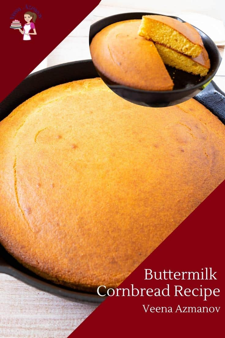 This buttery moist buttermilk cornbread is light and fluffy with crisp edges, a golden crumb and gets ready in less than half-hour. The house is filled with the wonderful aroma of baked cornbread which makes this the perfect dish when you have guests over. #cornbread #buttermilk #recipe #bread #cornbreadrecipe #buttermilkcornbread #baking #bestcornbread via @Veenaazmanov